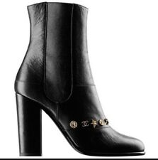 NIB CHANEL Black Leather Dallas Charms Short Boots CC Logo Stars Coin 41 8.5 9