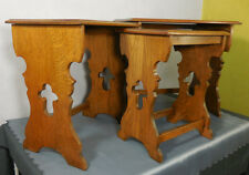 Vtg Set 3 French Country Provincial Nesting Tables Stacking End Side Oak Wood