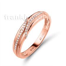 Natural Diamond Solid 18Kt Rose Gold Promise Engagement Rings Women SR0040