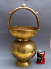 Large Vintage Brass Holy Water Pot ~ Jeypore Art Engraved Indian Hindu Kamandal