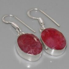 "C5340 Ruby Faceted & 925 Silver Overlay Earrings 1.2"" Gemstone Jewellery"