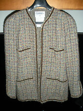 VINTAGE CHANEL BROWN & MULTI COLOR WOVEN TWEED SKIRT SUIT, GOOD CONDITION