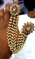 1pcs Off-white Pearl Chain White Kundan Cocktail Party Double Finger Ring-Diwali