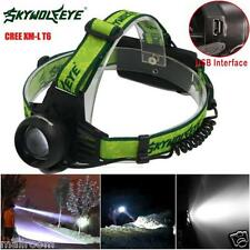 Cree XM-L T6 LED Rechargeable 2x 18650 Headlamp Headlight Fackel USB Stirnlampen