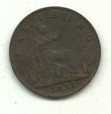 A HIGHER GRADE 1881 H GREAT BRITAIN FARTHING COIN-OLD ENGLISH PIECE-APR155