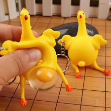 Novelty Tricky Chicken and Eggs Key chain Squishy Squeezing Funny Toys Cute