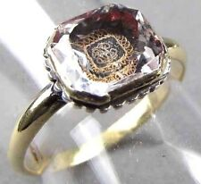 GEORGIAN 17th century Red foil Stuart crystal Gold & Silver ring W/ GOLD CYPHER