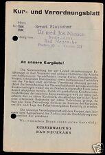 Kur- und Verordnungsbaltt, Kuraufenthalt in Bad Neuenahr, 1952