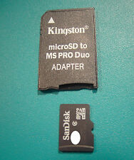 Kingston micro-SD to Ms PRODuo adaptador para 512mb. +1gb, 2gb, 4gb, 8gb, 16gb, 32gb, 64gb