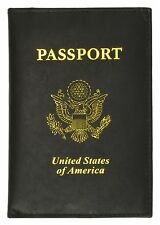 New Black Leather USA Passport Travel Cover Holder / Wallet
