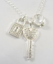 New Bling Crystal Key Lock & Ring Pendant Necklace NWT #N2470