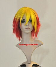 RED YELLOW 2TONE KAGAYAKI COSTUME ACTOR MODEL PHOTO SHOOT SHORT WIG  ~VERY COOL~