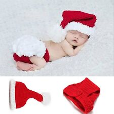 Cute Baby Boys Girls Knit Hat Christmas Santa Outfits Crochet Costume Photo Prop