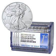 2017 American Silver Eagle Certified Roll-20 NGC GEM BU First Day Issue SKU45069