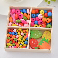 1Box Colorful Wood Beads Kit Strawberry Necklace Bracelet DIY Kids Craft Set