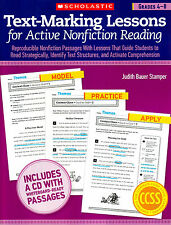Text-Marking Lessons for Active Nonfiction Reading Grade 4 5 6 7 8 Whiteboard CD