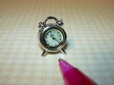 Miniature Shiny SILVER Alarm Clock, High Detail!: DOLLHOUSE 1/12 Scale