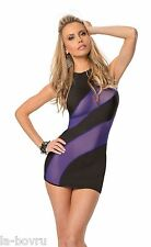 Mesh Striped dress with high halter tie neck black midnight purple Escante