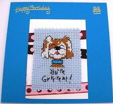 """Birthday Card Completed Cross Stitch Dog You're Great 5.5"""" sq"""