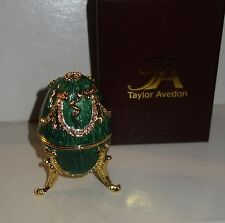 Taylor Avedon green gold Enameled Crystal Accented EGG Music Trinket Box - New