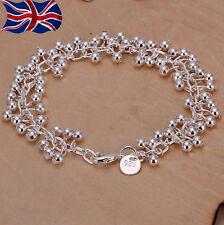 """925 Sterling Silver Ball Bracelet Chain Link Grape Bead 7.75"""" Gift UK"""