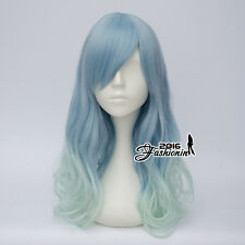Light Blue Mixed Light Green Lolita Long Curly Women Ombre Party Cosplay Wig