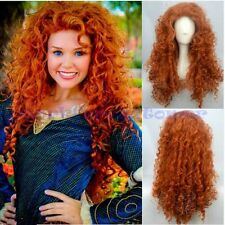Fashion Brave Merida Costume Long Wig Curly Wavy Orange Hair Cosplay Party Wigs