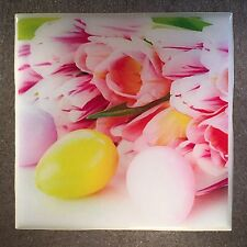 EASTER Eggs And Flowers Coaster Ceramic Tile Pink Tulips