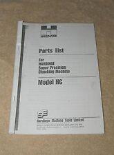 Hardinge HC Precision Lathe Spare Parts Manual