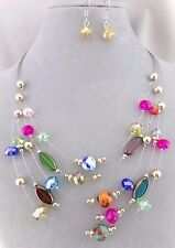 Multi Color Bead Silver Wire Necklace Set Layered Fashion Jewelry NEW