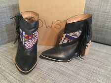 Howsty Anthropologie Booties Black Leather Canvas Boho Fringe Sz 39 US 8