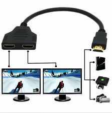 New HDMI Male To Dual HDMI Female 1 to 2 Way Splitter Adapter Cable For HDTV