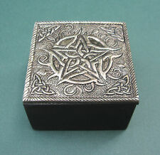 "Silver Pentacle Trinket Box 2.5"" Wood and Metal Wicca Celtic Pagan NEW Mini"