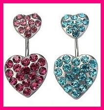 2 PIERCINGS NOMBRIL CRYSTAL STRASS COEUR SWAROVSKI BELLY NAVEL RING HEART