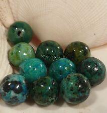 Chrysocolla Untreated Gem Stone Beads Green Blue Round  8MM (10 Bead)
