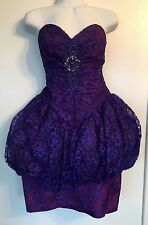 Vintage Ugly 1980s Prom Bridesmaid Dress Purple Lace Size S