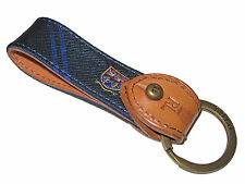 Polo Ralph Lauren Navy Blue Collegiate Shield Leather Keychain Key Ring Fob