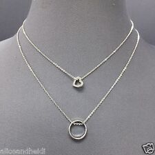 Silver Finish Simple Dainty Double Layered Chain Heart O Ring Pendants Necklace
