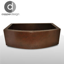 "Hand Hammered Copper Round Apron Farmhouse Kitchen Sink 30""x22"""