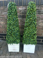 2 ARTIFICIAL TOPIARY BOXWOOD TREE PLANT PYRAMID CONE 3FT HIGH