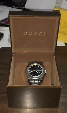 Gucci 115.2 PANTHEON SS Mens Chronograph Wristwatch Black Leather Band