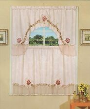 Embroidered Jacquard & Voile, Tier & Swag, 3 Pieces Kitchen Curtain Set Pink