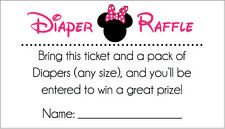 20 Diaper Raffle Tickets - Hot Pink and Black Minnie Mouse Baby Shower