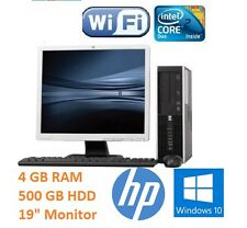 "HP FULL COMPLETE DESKTOP SET 19"" MONITOR FAST COMPUTER SYSTEM WIN10 WI-FI SALE"