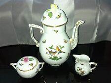 Herend Rothschild Kaffeekanne nr.611 mit Milchkännchen&Zuckerdose in Top-Zustand