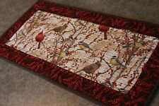 Brown Berries Cardinals Chickadees  25 X 12 New Handmade Quilted Table Runner