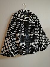 NWT Women's MACKAGE Wool Pancho Coat Black/White - Sz XS