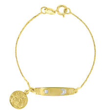 18k Gold Plated Baby Infants Toddlers Guardian Angel Bracelet Sun Moon 5.5""