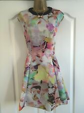 Ladies Ted Baker Multi-Coloured Skater Dress Size 2 (10) Worn Once