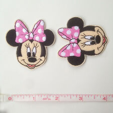 1pcs Minnie Mouse w/ Pink Bow Iron On Machine Embroidery Patch Applique Craft